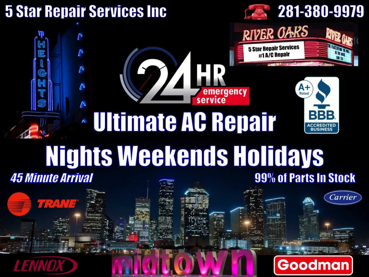 24Hour AC Repair The Heights 77007 77008 - Midtown 77004 - Montrose 77006 - River Oaks 77006 77019 77098 77027
